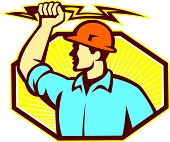 pic of lineman  - Illustration of an electrician wielding holding a lightning bolt facing side done in retro style in isolated white background - JPG