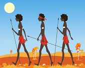 foto of loin cloth  - an illustration of a three australian aborigine men dressed in traditional clothing walking in the outback in a parched landscape under a hot sun - JPG