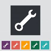 image of mechanical drawing  - Wrench single flat icon - JPG