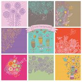 Vector set of cute nine floral backgrounds. Flowers, butterflies and birds - vintage cards in bright