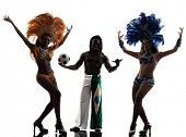 foto of carnival brazil  - brazilian women samba dancer and soccer player man dancing silhouette  on white background - JPG