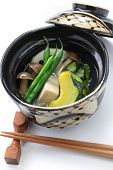 nimono, authentic japanese cuisine. simmered squash, freeze-dried bean curd, green beans, rotus root