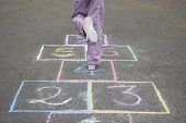 image of hopscotch  - Low section of girl playing hop - JPG