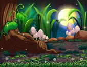 stock photo of magical-mushroom  - Illustration of an enchanted forest - JPG