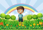 image of hilltop  - Illustration of a boy in the fields - JPG