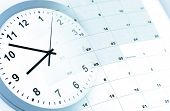 stock photo of composition  - Clock face and calendar composite - JPG