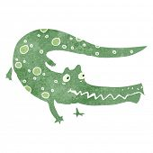 stock photo of crocodiles  - retro cartoon crocodile - JPG
