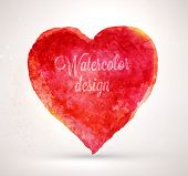 stock photo of amour  - Watercolor vector heart for vintage design - JPG