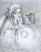 image of witch ball  - Illustration of fairy with magic ball and cat in background - JPG