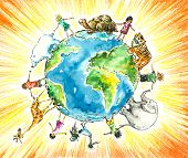 stock photo of fellowship  - Children and animals around the earth - JPG