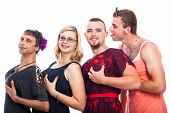 foto of cross-dresser  - Group of bizarre three men cross - JPG