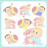 image of baby twins  - vector illustration of baby boys and baby girls with white background - JPG
