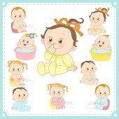 foto of twin baby girls  - vector illustration of baby boys and baby girls with white background - JPG