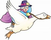 image of nursery rhyme  - Vector illustration of fairy tale character Mother Goose - JPG