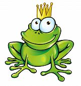 stock photo of pet frog  - funny frog green prince  vector  with crown - JPG