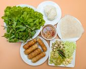foto of sate  - vietnamese food pork sausage with vegetable  - JPG