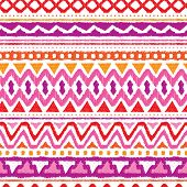 foto of aztec  - Seamless trend purple and orange aztec vintage folklore background pattern in vector - JPG