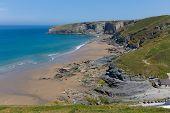 foto of heatwave  - Trebarwith Strand beach Cornwall near Tintagel England UK - JPG