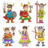 picture of thor  - set of cartoon viking - JPG