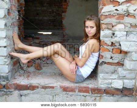 Woman Has A Rest On Door Pass
