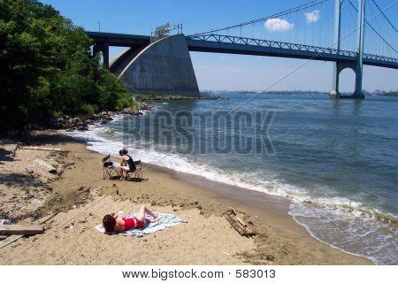 Sun Bathing By The Bridge