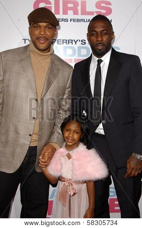 Tyler Perry with Lauryn Alisa McClain and Idris Elba at the premiere of