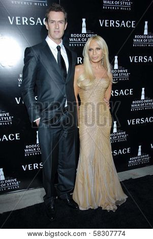 Rupert Everett and Donatella Versace at the celebration for The Rodeo Drive Walk of Style Award given to Gianni and Donatella Versace. Beverly Hills City Hall, Beverly Hills, CA. 02-08-07