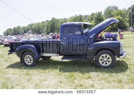Blue Chevy 3800 Truck Side View