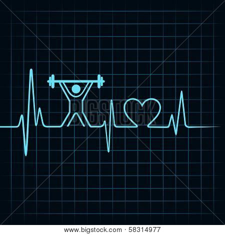Heartbeat make lifting man and heart symbol