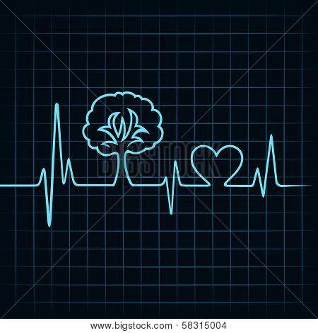 heartbeat make a tree and heart symbol
