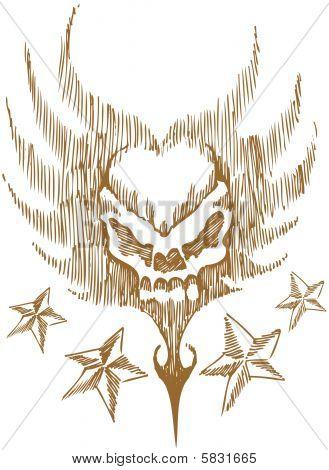 skull wing star