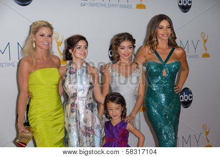 Julie Bowen, Ariel Winter, Sarah Hyland, Sofia Vergara, Aubrey Anderson-Emmons at the 2012 Primetime Emmy Awards Press Room, Nokia Theater, Los Angeles, CA 09-23-12