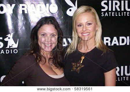 Miriam Gonzalez and Katie Lohmann co-hosting Playboy Radio on Sirius. Playboy Radio, Culver City, CA. 02-18-07