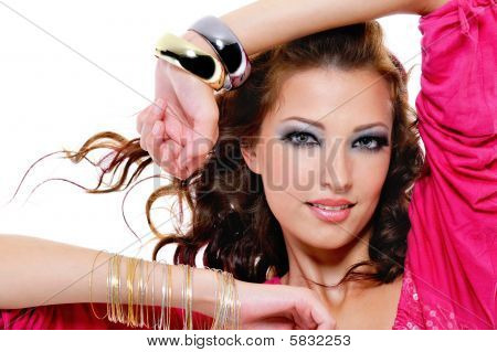 Fashionable Beautiful Woman With Bright Make-up