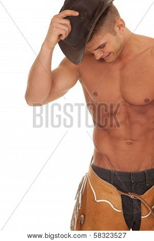 Man No Shirt Chaps Hold Hat On Head Close