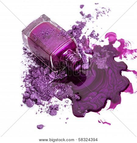 Purple Nail Polish And Crushed Eye Shadow