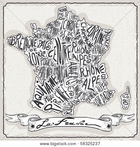 France Map On Vintage Handwriting Page