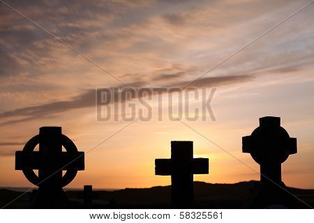 Celtic And Christian Crosses At Sunset
