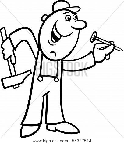 Worker With Nail Coloring Page