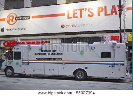 New York City Sanitation Department mobile command center during Super Bowl XLVIII week