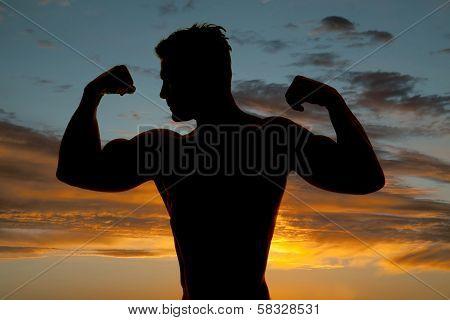 Silhouette Wet Man Muscles Flex Look Side Sunset
