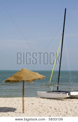 Umbrella and catamaran