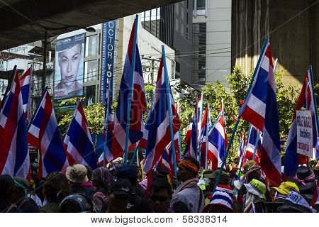 Bangkok, Thailand - January 30: Protesters Shut Down Bangkok To Reform Before Election