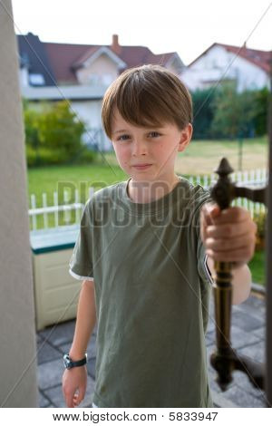 Boy Pre-teen Confident Open Door Handle