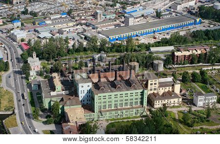 Aerial View Of Industrial Zone City, And Old Power Plant.