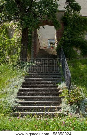 Stone Steps Leading to an Arch with grassy foreground