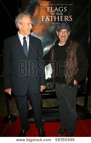 """Clint Eastwood and Steven Spielberg at the premiere of """"Flags of Our Fathers"""". Academy of Motion Picture Arts and Sciences, Beverly Hills, CA. 10-09-06"""