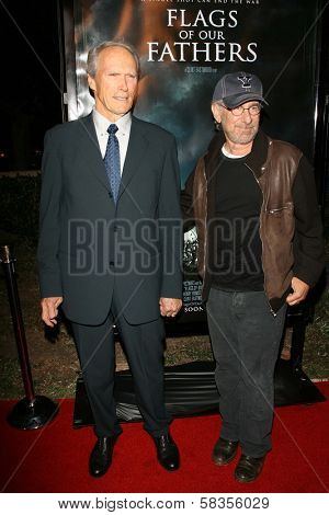 "Clint Eastwood and Steven Spielberg at the premiere of ""Flags of Our Fathers"". Academy of Motion Picture Arts and Sciences, Beverly Hills, CA. 10-09-06"