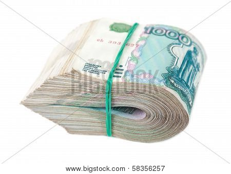 Folded Thousandths Russian Rouble Bills Isolated On White Background