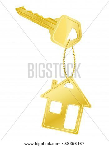 House Key Door Lock Vector Illustration